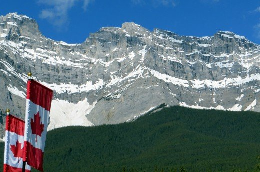 Banff National Park Canadian Flags