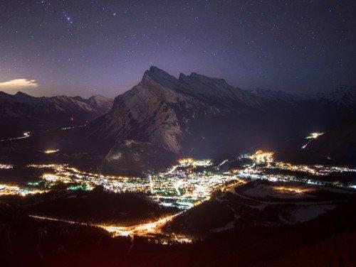 Moonlight ski visit Banff winter