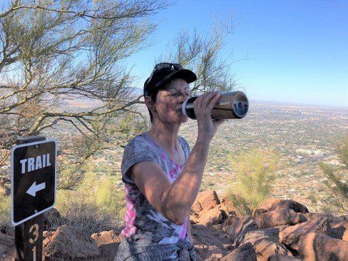 Drinking water Camelback Mountain Arizona